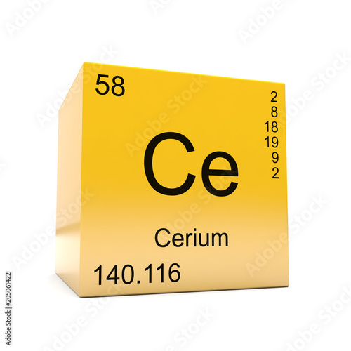 Cerium chemical element symbol from the periodic table displayed on cerium chemical element symbol from the periodic table displayed on glossy yellow cube urtaz Image collections