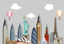 Grey Travelling Background With Worldwide Sights.