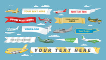 Plane Banner Vector Airplane O...