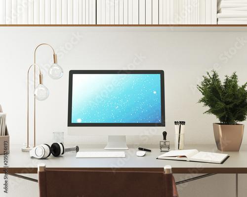 Computer Monitor Mockup. Blick auf Schreibtisch Wallpaper Mural