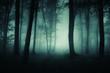 Leinwanddruck Bild dark foggy road, scary woods landscape