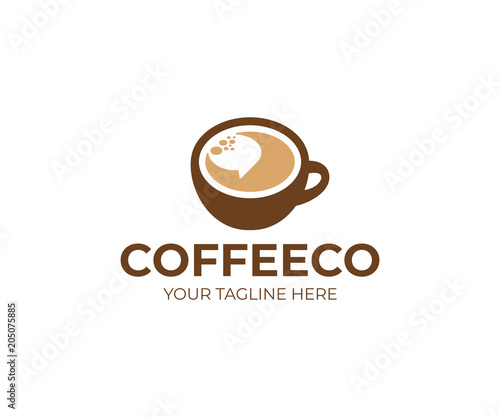 Cup of coffee and speech bubble logo template. Coffee break vector design. Coffeehouse logotype