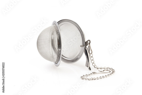 Fotografie, Obraz  Tea strainer on a chain isolated for white background.
