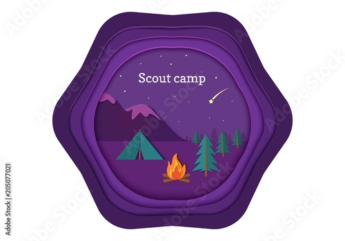 Foto op Aluminium Snoeien Evening camp whith bonfire and tent in trandy paper cut style. Pine forest and rocky mountains. Starry night sky and shooting star. Vector card illustration. Night camping adventure