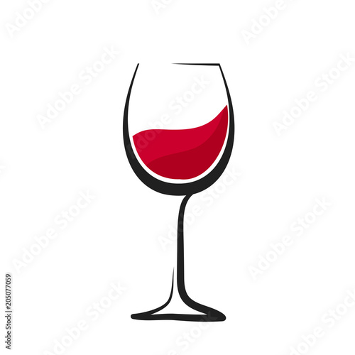 Glass of red wine with splash, hand drawing, wineglass logo icon, stock vector logo illustration