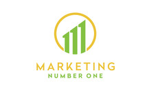 Initial Letter M And 1 For Marketing Chart Bar Diagram Statistic Logo Design Inspiration