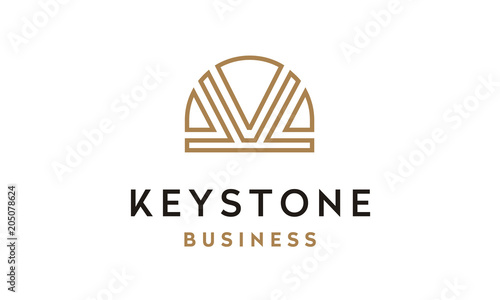 Valokuva  Line Art Keystone image logo design inspiration with initial K