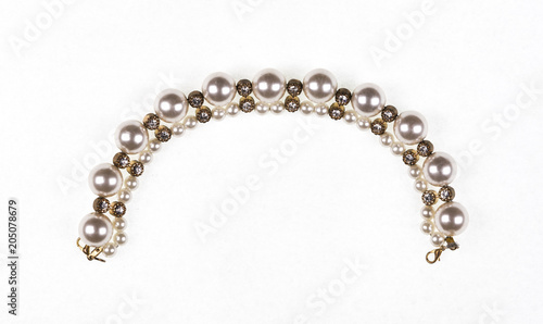 jewelery, chain with pearls on white isolated background