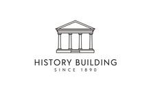 Government Historical Building, Greek Roman Pillar Columns With Line Art Style Logo Design Inspiration