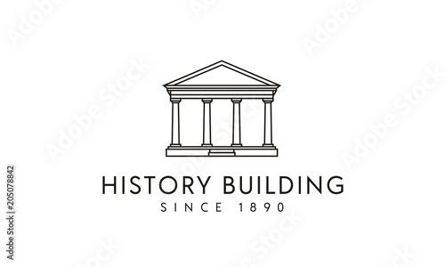 Photo Government Historical Building, Greek Roman Pillar Columns with Line Art style l