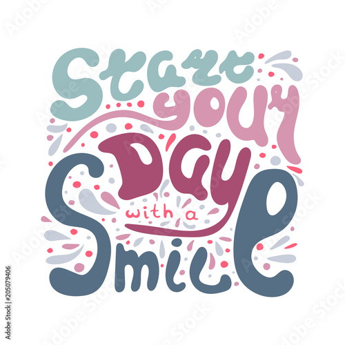 Hand-written lettering Start your day with a smile Canvas Print