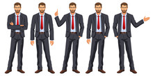 Man In Business Suit With Tie. Bearded Guy, Gesturing. Elegant Businessman In Different Poses. Stock Vector, 10 Eps.