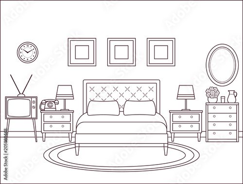 Bedroom Interior Hotel Retro Room With Bed Vector Outline