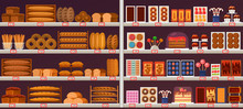 Sweets And Bakery Stall Or Showcase At Shop