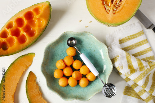 Fresh sweet cantaloupe melon on the white background.