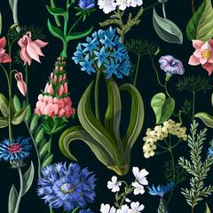 Panel Szklany Podświetlane Vintage Seamless pattern with wild flowers on a dark background. Vector illustration.