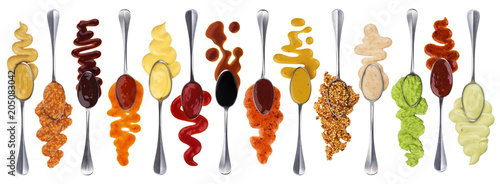 Tuinposter Kruiderij Set of different sauces with spoons isolated on white background