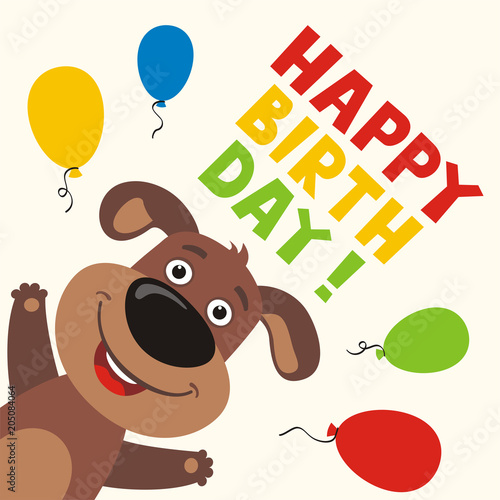 Happy Birthday Greeting Card With Funny Puppy Dog And Balloons In Cartoon Style Buy This Stock Vector And Explore Similar Vectors At Adobe Stock Adobe Stock