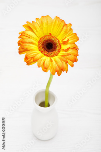 Tuinposter Gerbera Yellow Gerbera in vase on white wooden table. Daisy flowet in vase.