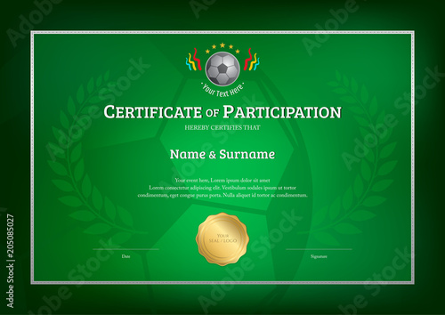 certificate template in football sport theme with green background