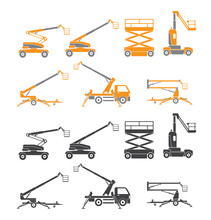 Lifting Machine Icons Set. Two Versions. Vector. Isolated
