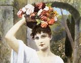 Ładna młoda kobieta z bukietem kwiatów lub koszem na głowie - 205086010