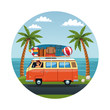 Guy driving surf van to the beach vector illustration graphic design