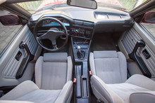 Interior Of Old Retro Car With Front Textile Sport Seats