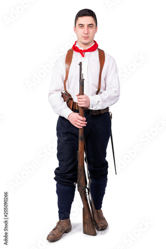 Photo  retro french patriot on the white background