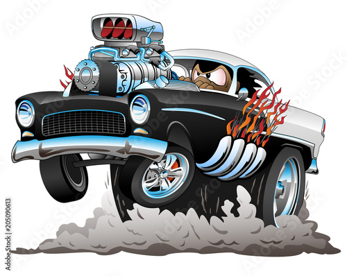 Classic American Fifties Style Hot Rod Funny Car Dragster Cartoon with Big Engine, Flames, Smoking Tires, Popping a Wheelie, Vector Illustration