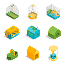 Pet Carriers Signs 3d Icons Se...