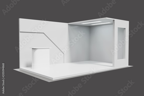 Creative Booth Exhibition : 3d rendering. blank creative exhibition stand design booth template
