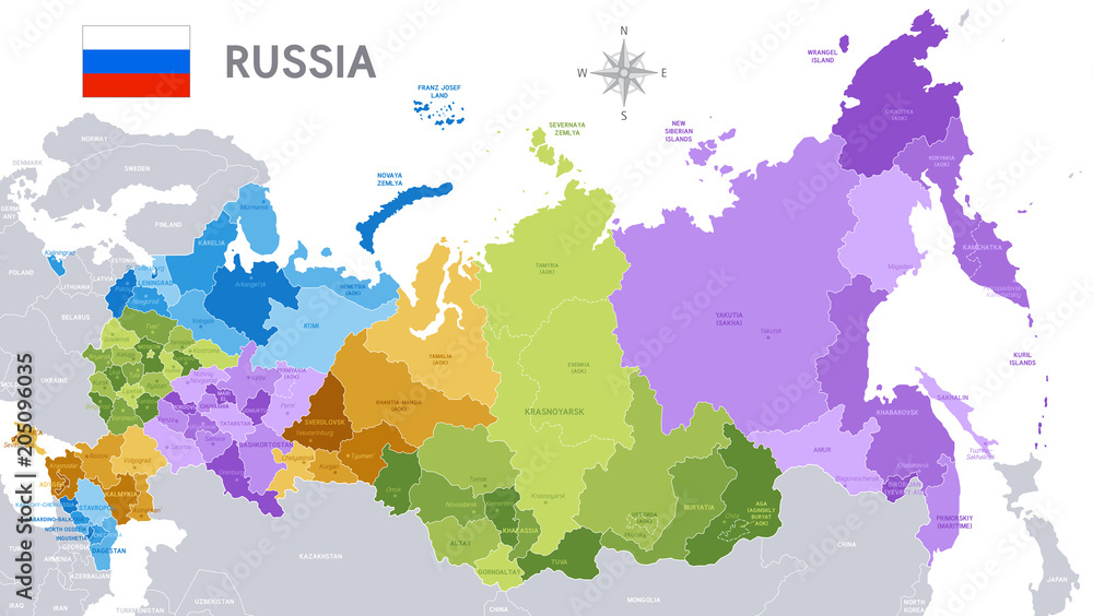 Fototapety, obrazy: Administrative map of Russian Federation