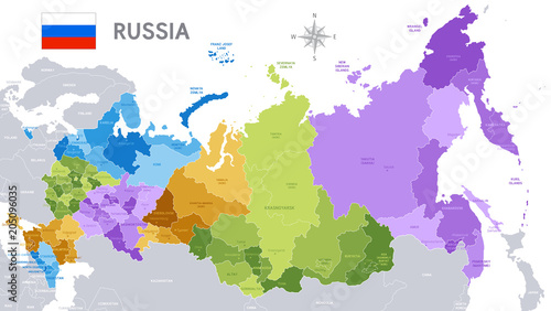 Fotografie, Tablou Administrative map of Russian Federation