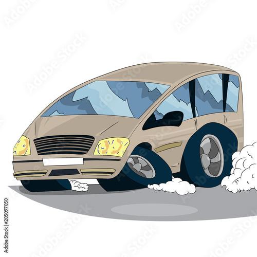 Staande foto Cartoon cars Vector illustrated cartoon car on white background.