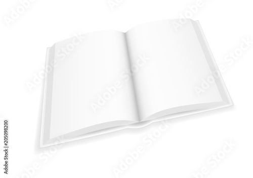 Fotografering  Vector realistic image (layout, mock-up) of an open hardcover book with white blank pages