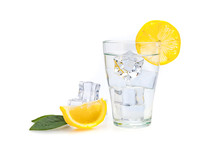 Water, Lemon And Ice Cubes In ...