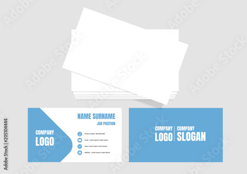 Fototapeta Blue business card template modern design obraz na płótnie