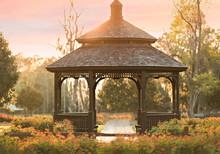English Garden Gazebo At Park At Sunset