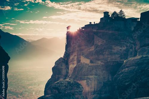 Foto op Canvas Historisch geb. Sunset over Varlaam monastery in Meteora, Greece