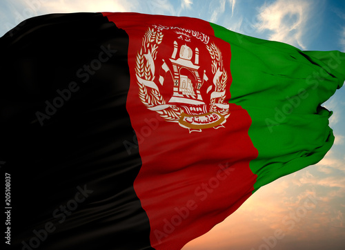 Afghanistan Flag, Waving flag Wallpaper Mural