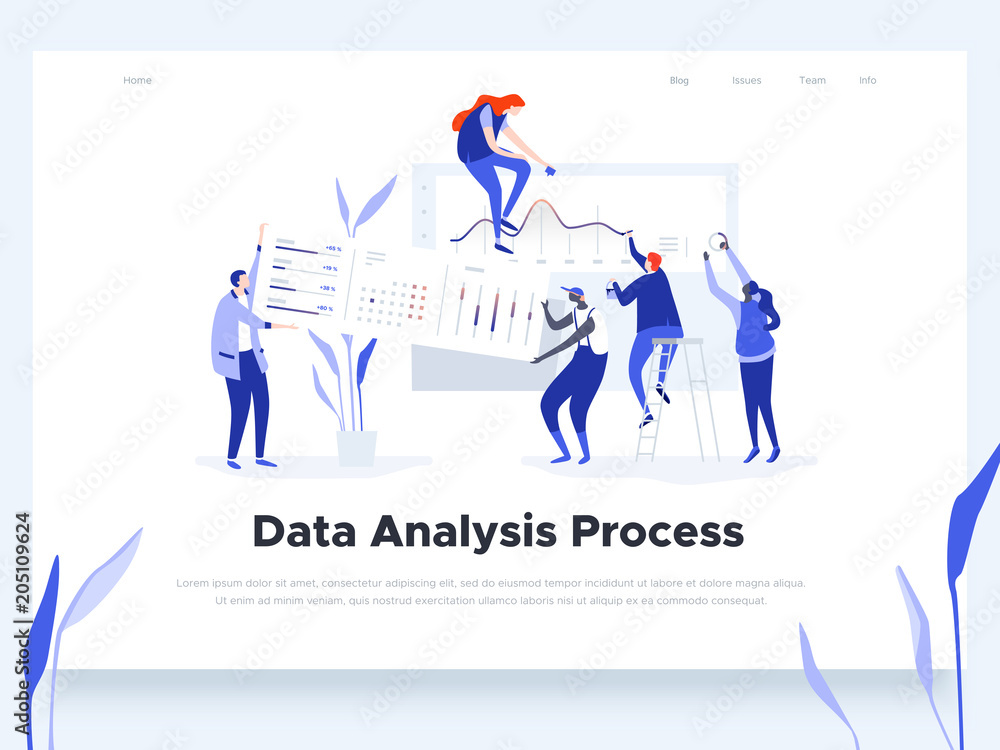 Fototapety, obrazy: People build a dashboard and interact with graphs. Data analysis, workflow management and office situations. Landing page template. Vector illustration.