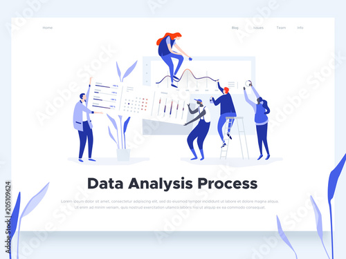 People build a dashboard and interact with graphs. Data analysis, workflow management and office situations. Landing page template. Vector illustration.
