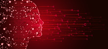 Big Data And Artificial Intelligence Concept. Machine Learning And Cyber Mind Domination Concept In Form Of Women Face Outline Outline With Circuit Board And Binary Data Flow On Red Background.