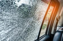 Broken Glass Window Car Damaged Has Accident