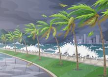 Tropical Landscape During Hurr...