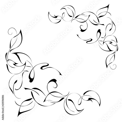 ornament 286. stylized leaves in smooth black lines on a white background Wall mural