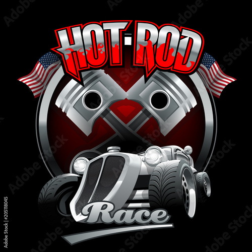 Fotomural Vintage Hot Rod logo for printing on T-shirts or posters