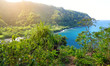 Beautiful views of Maui North coast seen from famous winding Road to Hana. Hawaii