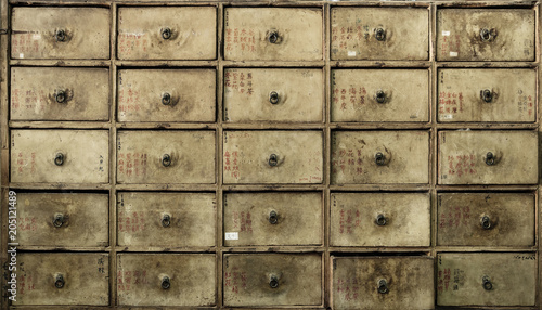 Foto op Plexiglas Artist KB Apothecary asian drawers - retro furniture